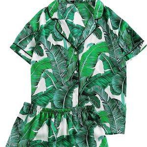 Other - Leaf Print Satin Pajamas Shirt and Shorts Set